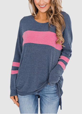 Side Slit Round Neck Patchwork Long Sleeve T-shirt