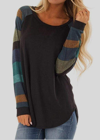 Striped Patchwork Round Neck Long Sleeve T-shirt