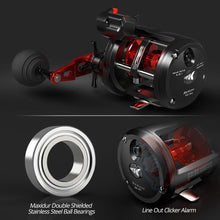 Load image into Gallery viewer, Extreme Trolling Fishing Reel Round Baitcasting Reel Graphite Body Laerge Line Capacity 3+1 BBS