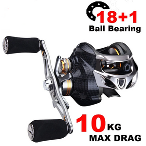 High Quality 18+1  Fishing Reel Carbon Shell Lightweight 217g Max Drag 10KG/17.6LB