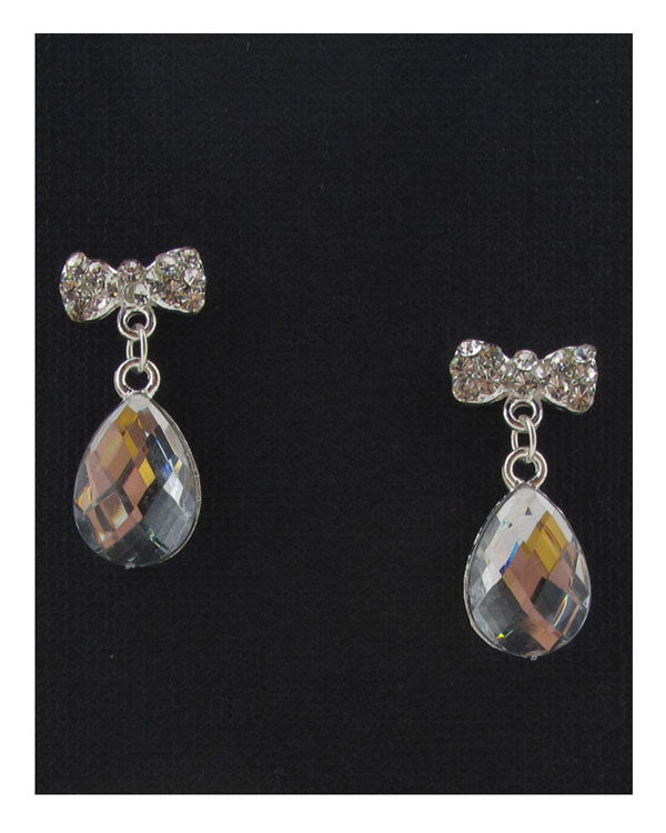 Bow rhinestone drop earrings