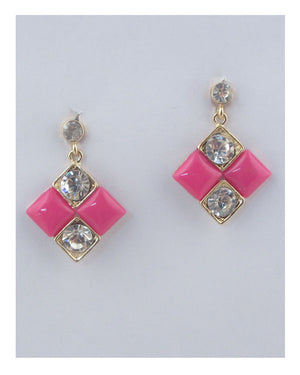 Square earrings w/rhinestone detail
