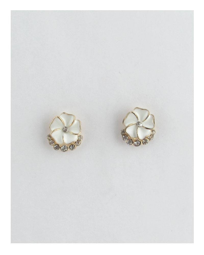 Color enamel clear rhinestone flower studs earrings