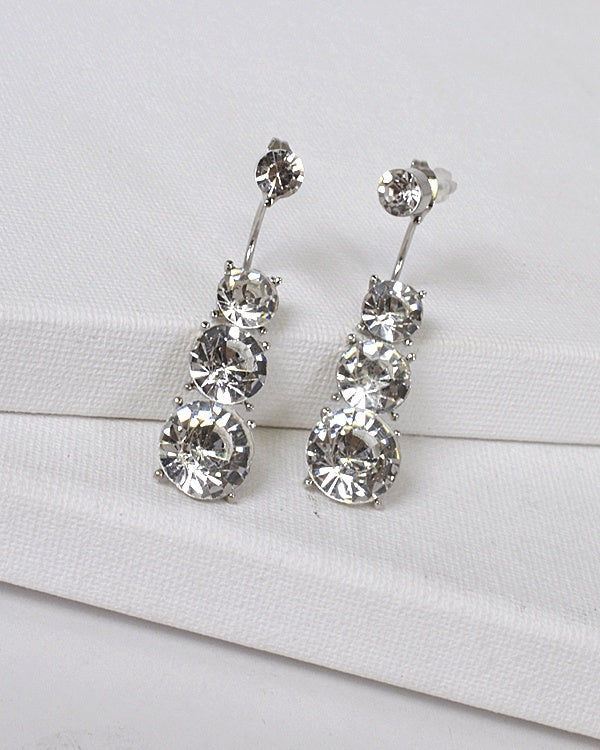 Multifaceted Crystal Three Tier Drop Earrings