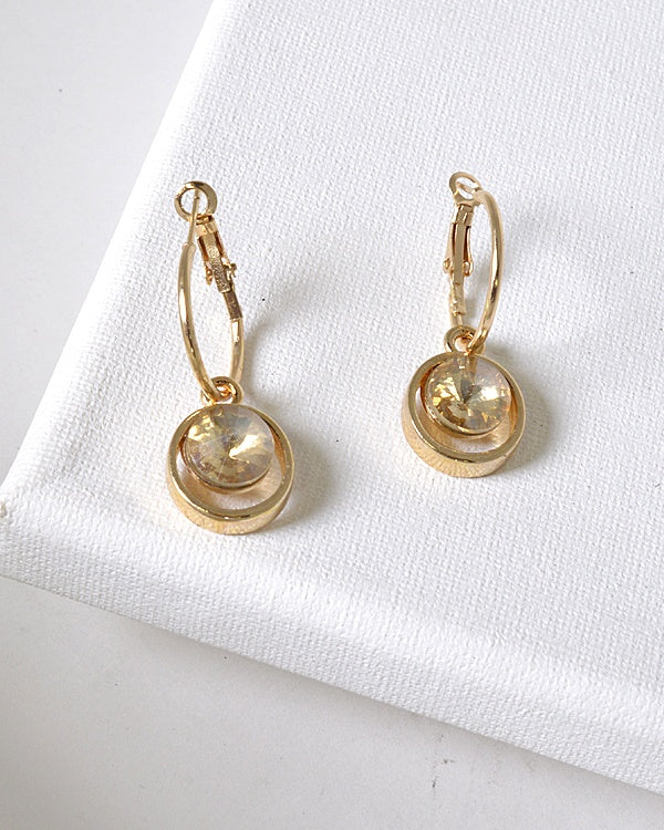 Crystal Studded Lever Back Drop Earrings id.31479