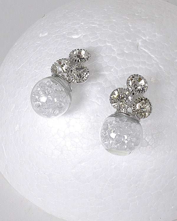 Crystal Embellished Floating Transparent Rhinestones Bead Glass Ball Earrings
