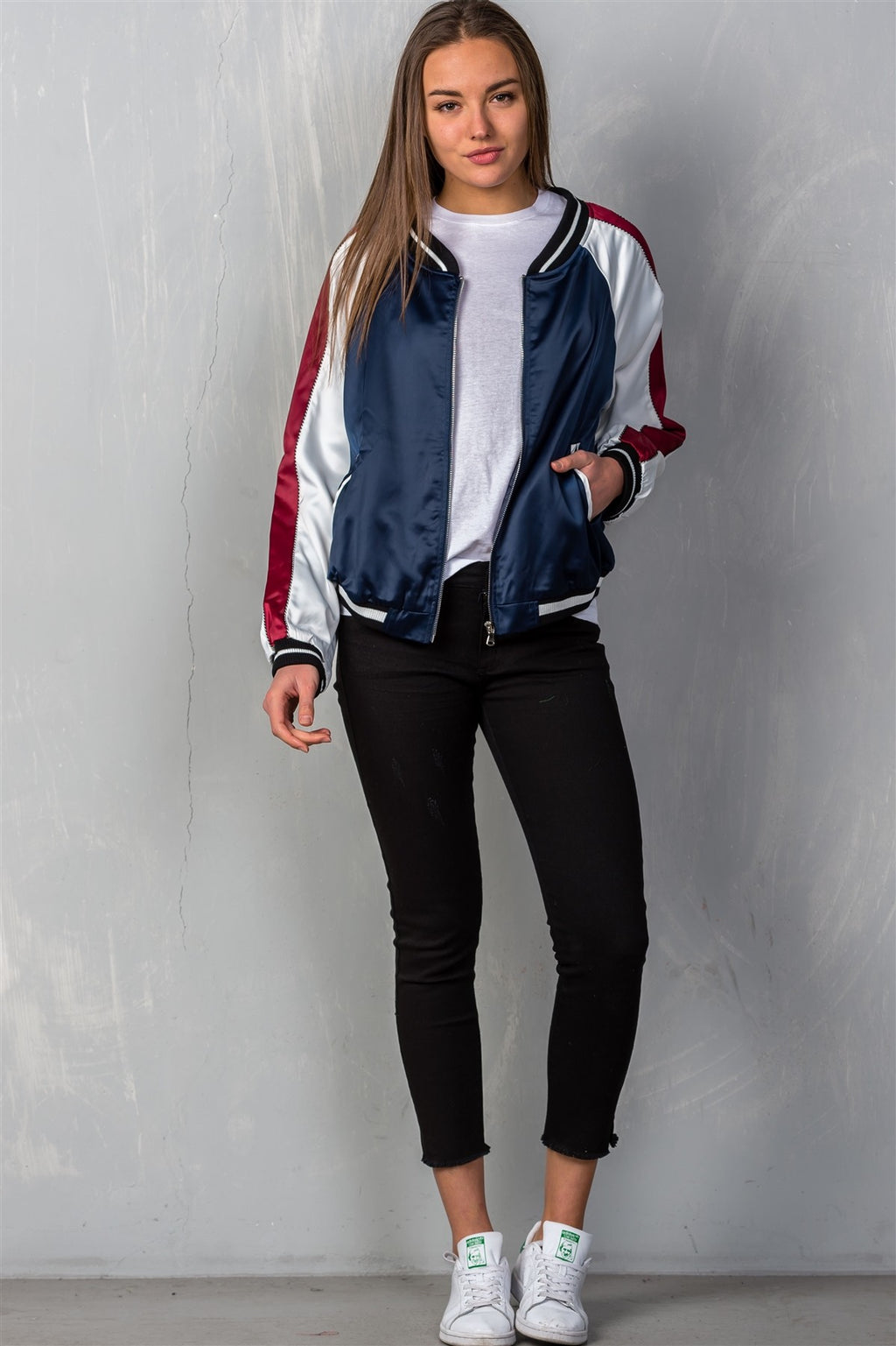 "Ladies fashion navy ""brunch"" embroidered bomber colorblock jacket"