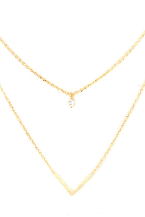 Ladies fashion cz stone v pendant layered necklace