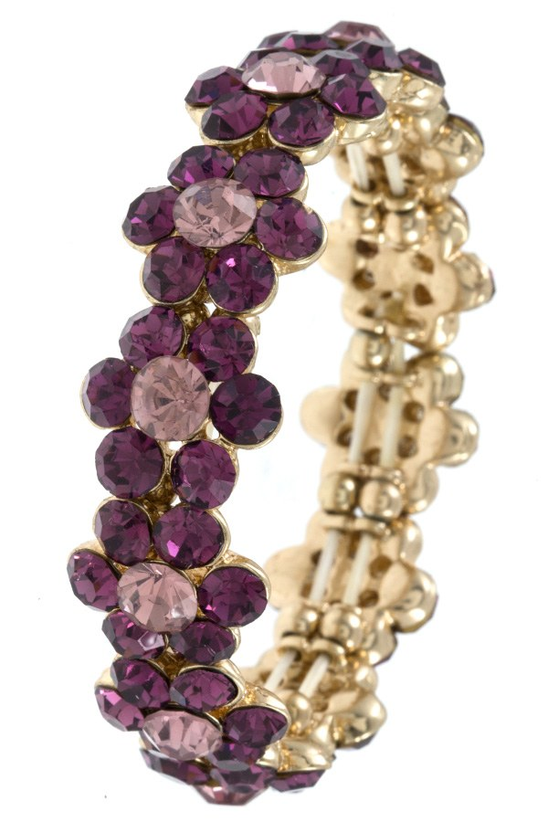 Ladies fashion round crystal gem floral link bracelet