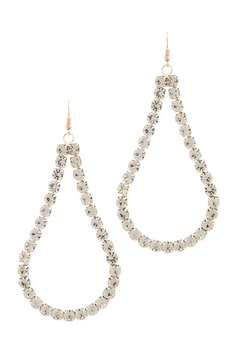 Oversize tear drop shape rhinestone earring