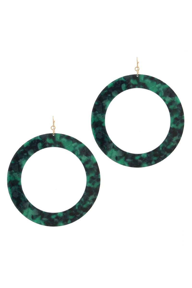 Acetate cut out circle drop earring