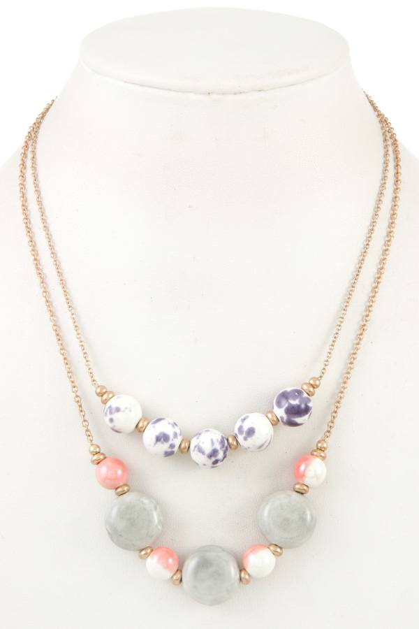 Double row ball bead necklace