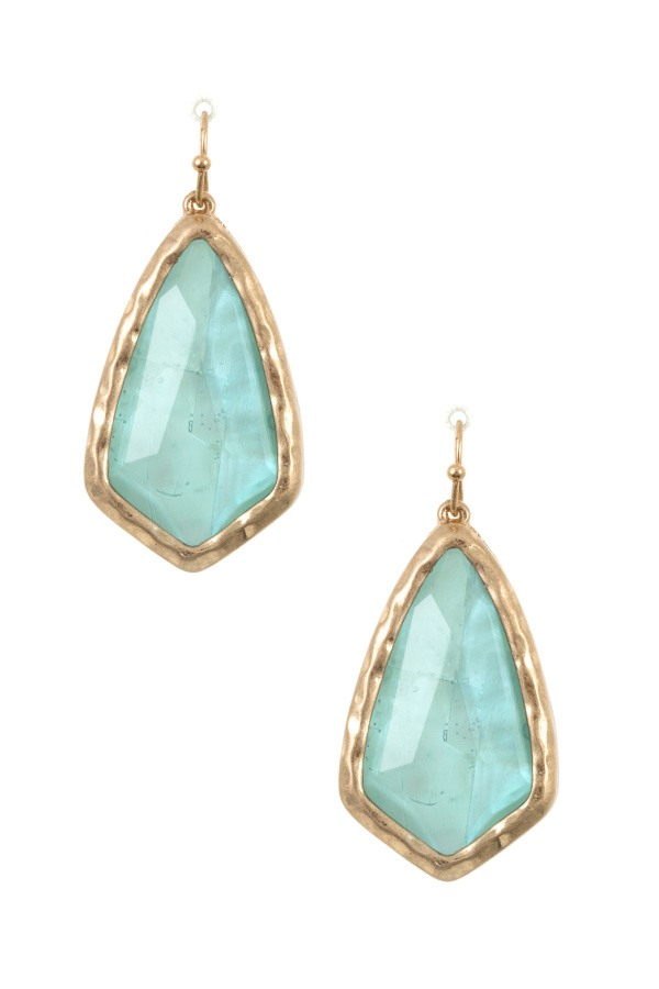 Hamemred framed faceted opal stone earring