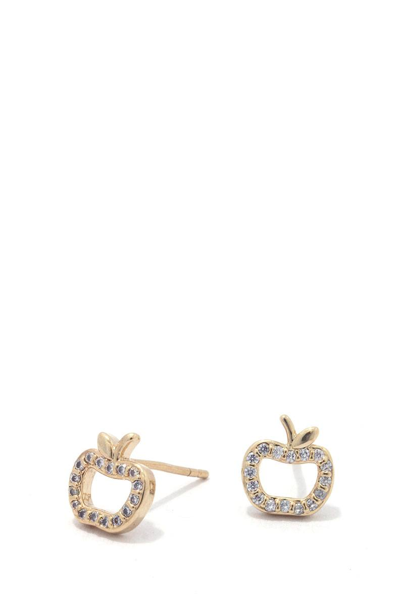Apple rhinestone stud earring