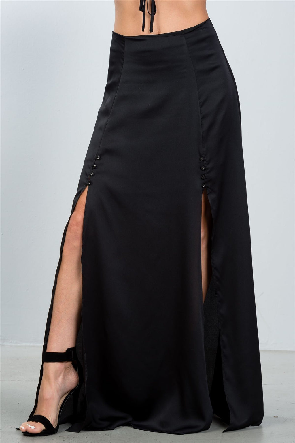 Ladies fashion black button front double split maxi skirt