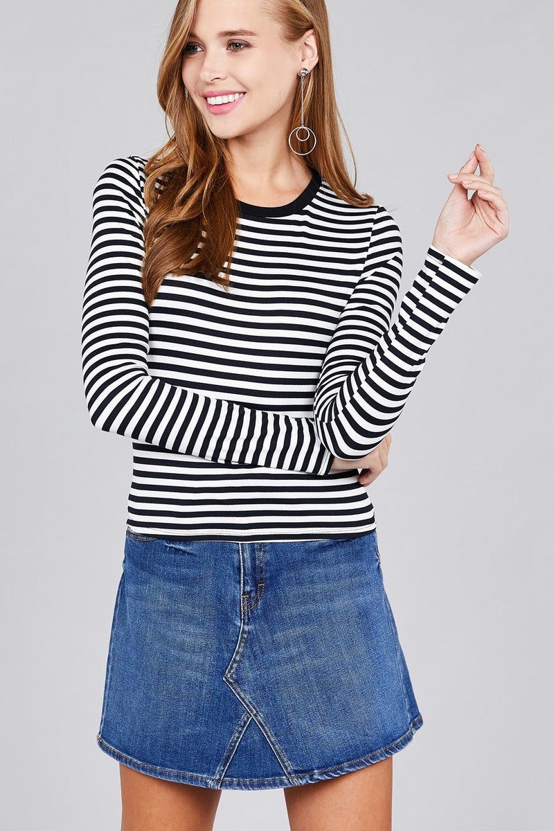 Ladies fashion plus sizelong sleeve crew neck striped dty brushed top