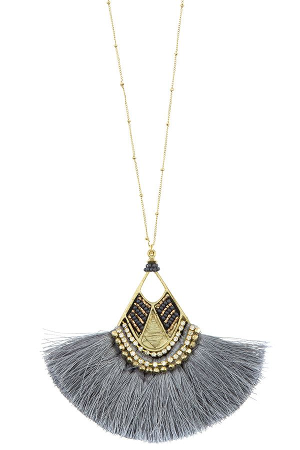 Mix jewel bead fringe tassel fan pendant long necklace