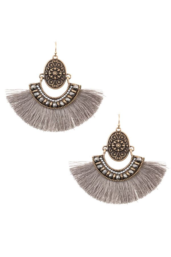 Boho etched tassel fan earring