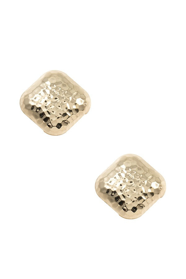 Textured square post earring