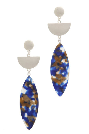 Acetate pointed oval drop earring