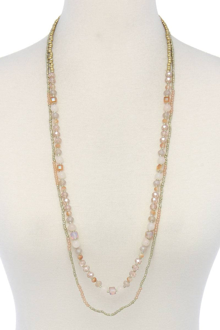 Semi precious stone beaded layered necklace