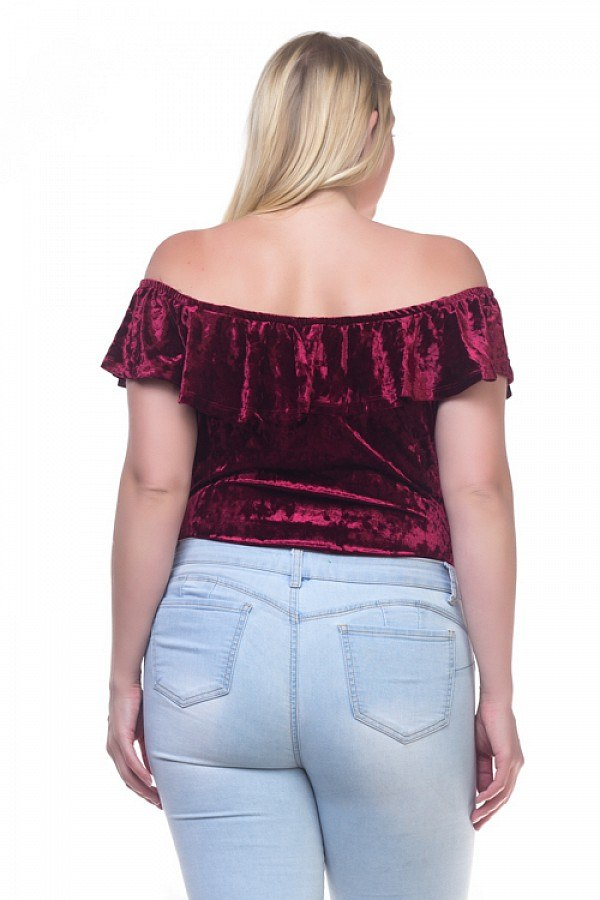 Ladies fashion plus size velvet bodysuit