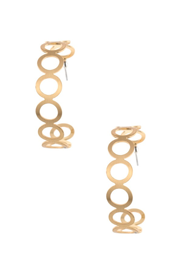 Circle cut out semi hoop earring