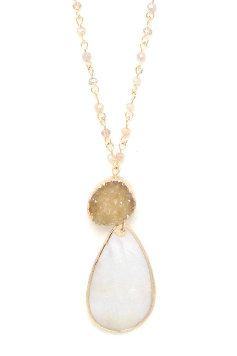 Druzy stone teardrop shape pendant necklace