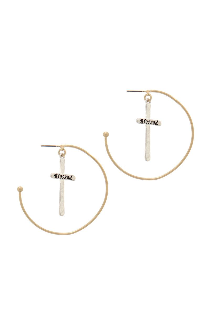 """blessed"" Cross Dangle Open Hoop Earring"