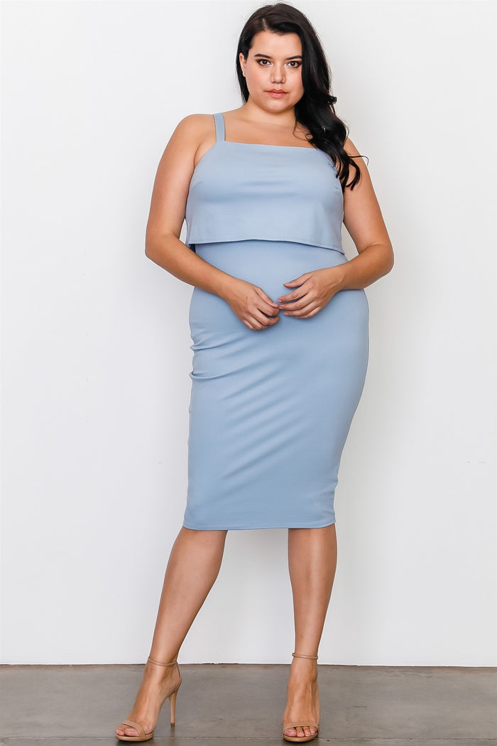 Plus Size Chambray Flounce Layered Midi Dress