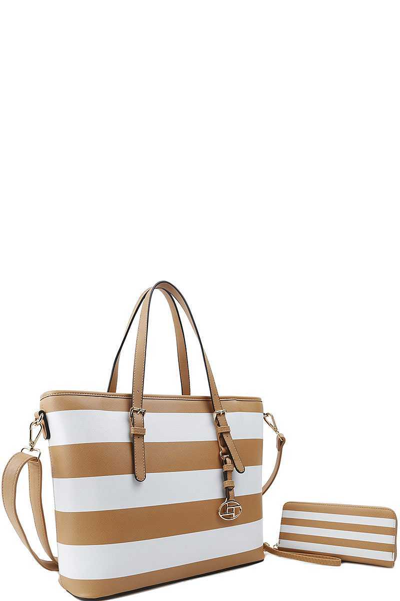 2in1 Modern Striped Shopper Bag With Matching Wallet