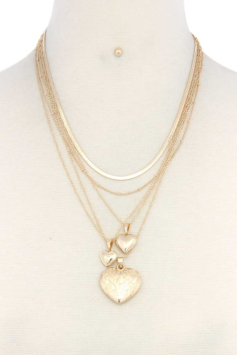 Heart Charm Layered Metal Necklace