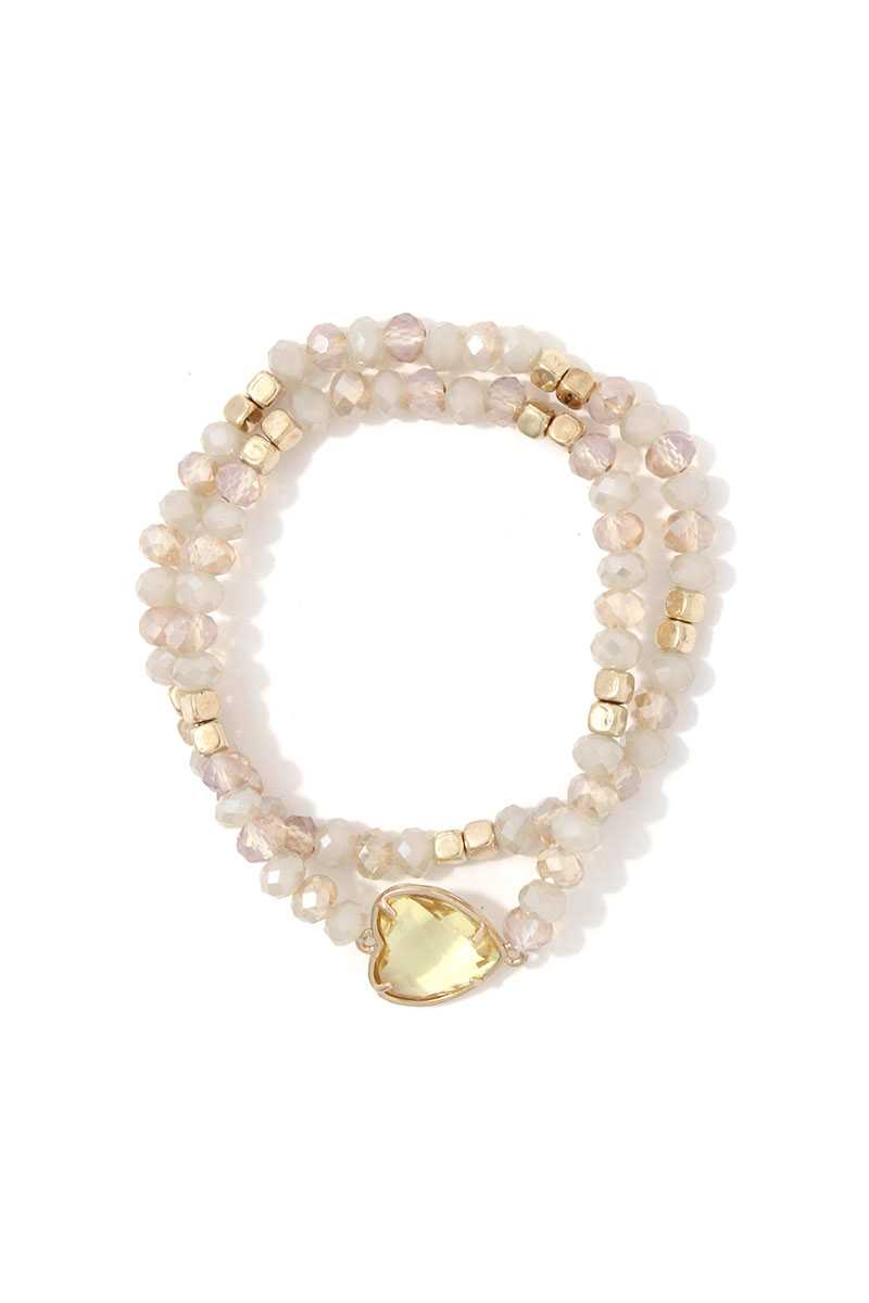 Heart Shape Beaded Stretch Bracelet Set