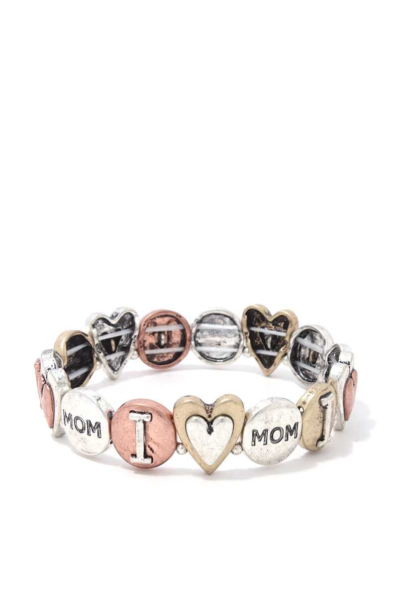 I Love You Mom Stretch Metal Bracelet