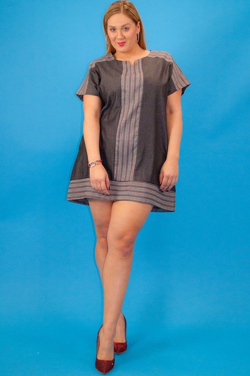 Chambray Denim, Short Sleeve, Striped Contrast Neckline And Trim, Loose Fit Short Dress With Side Pockets