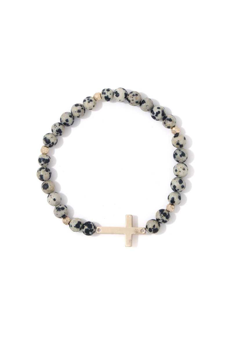 Cross Charm Beaded Stretch Bracelet