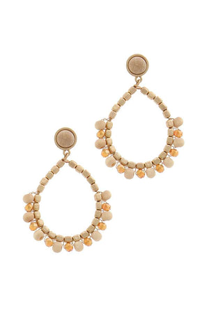 Circle Beaded Post Drop Earring