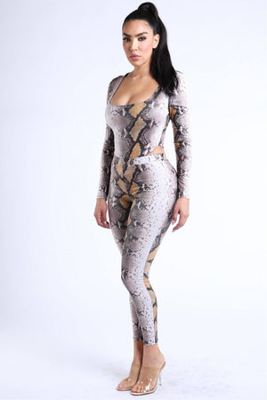 Foiled Snake Printed Bodysuit Leggings Sets