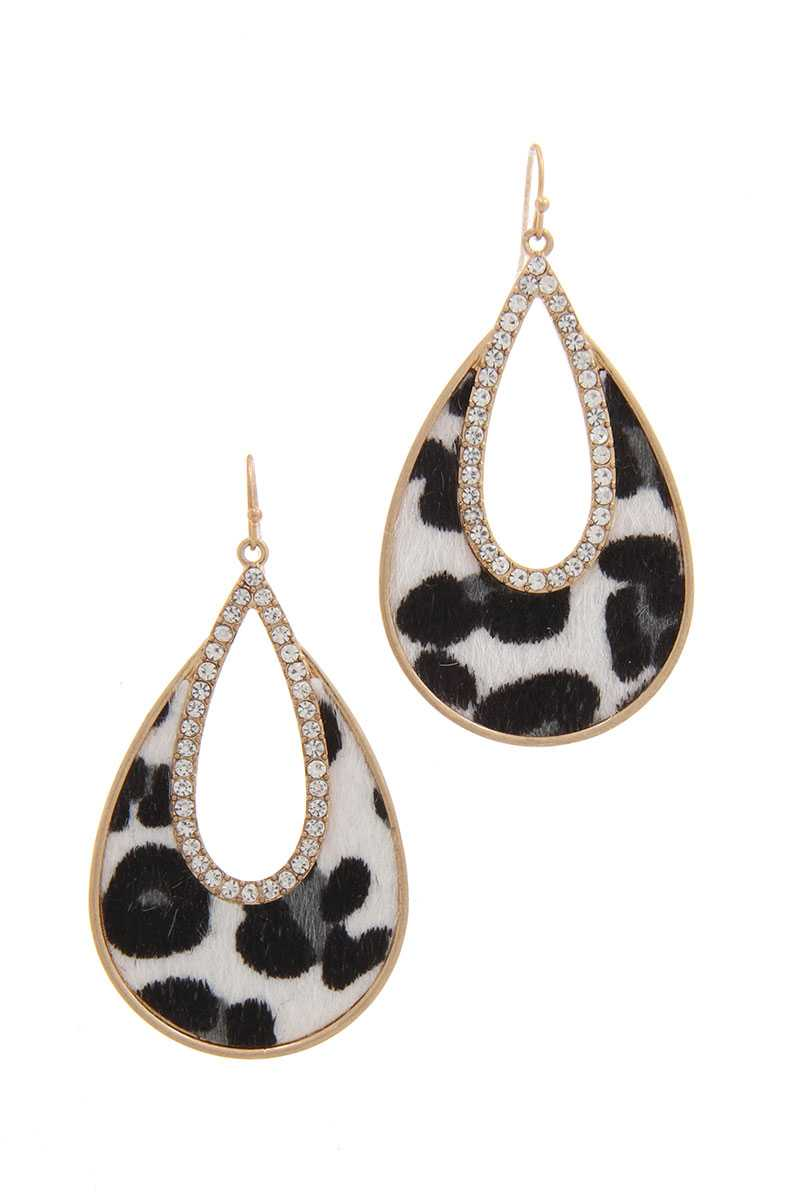Rhinestone Animal Print Drop Earring