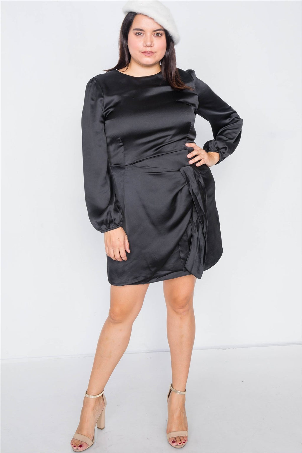 Plus Size Silk Mock Wrap Square Neck Mini Dress