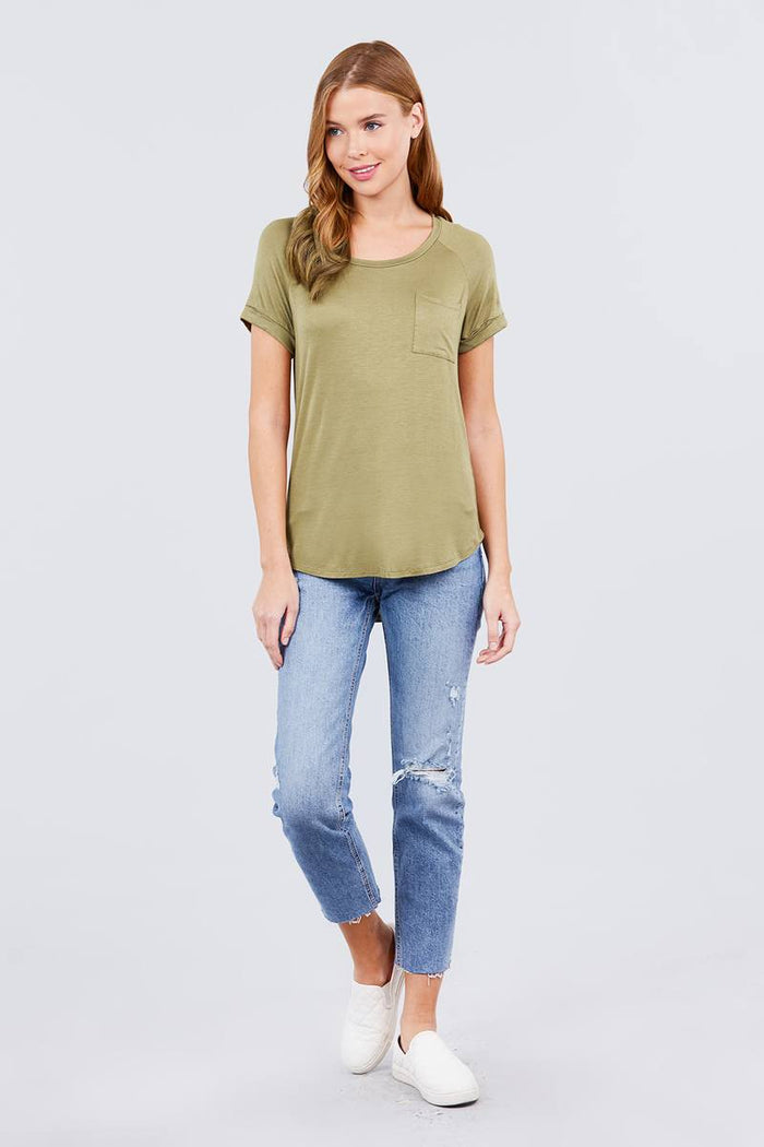 Short Raglan Sleeve Round Neck W/pocket Rayon Spandex Top