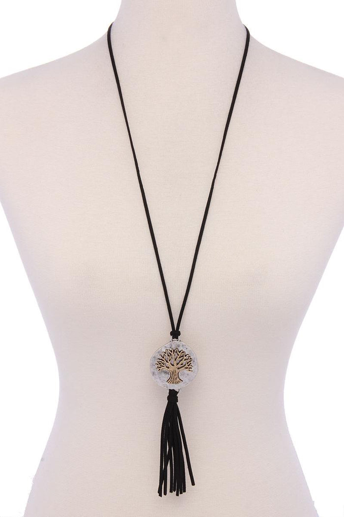 Oak Tree Suede Tassel Pendant Necklace