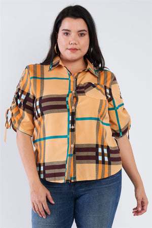 Plus Size Plaid Multi Stripe Cinched Sleeve Button Down Top
