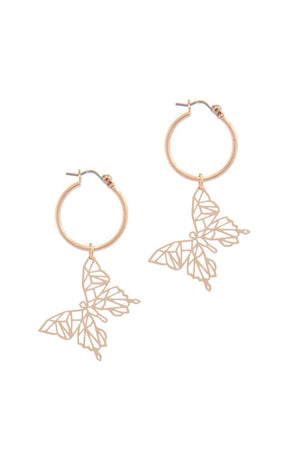Abstract Butterfly Hoop Earring