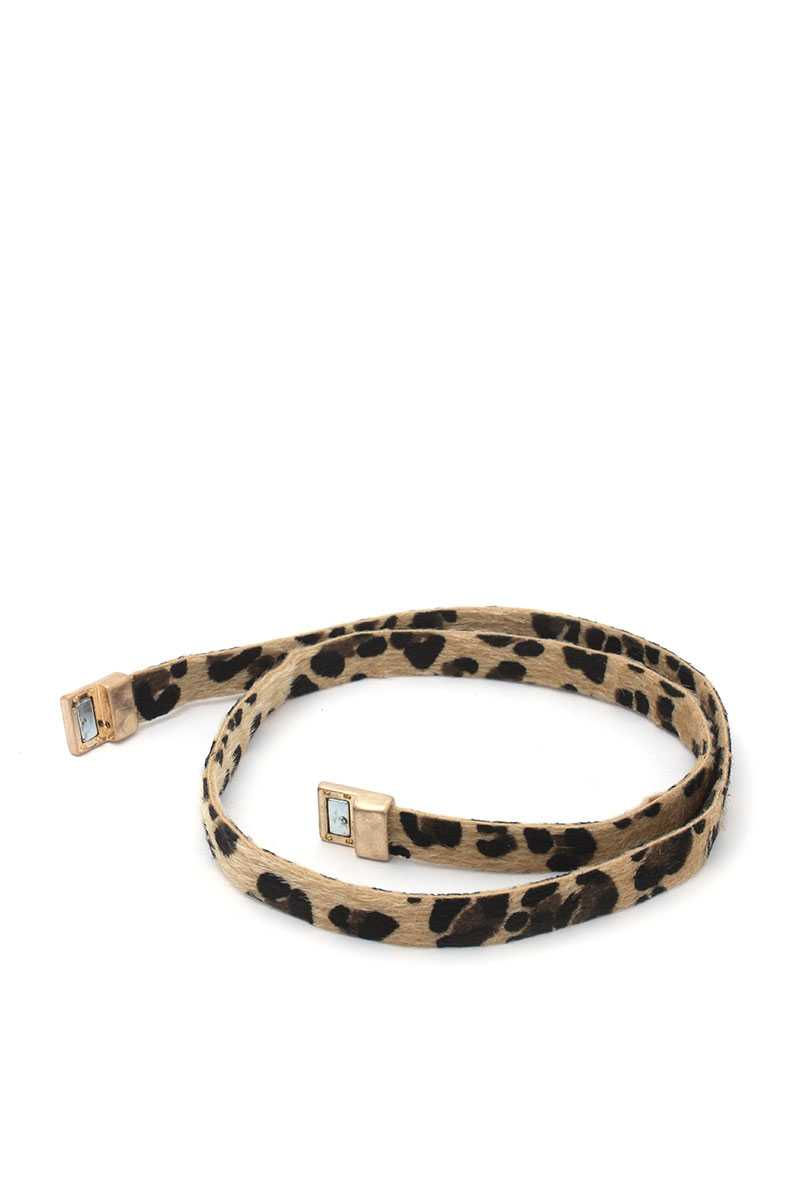 Faux Fur Animal Print Wrap Bracelet