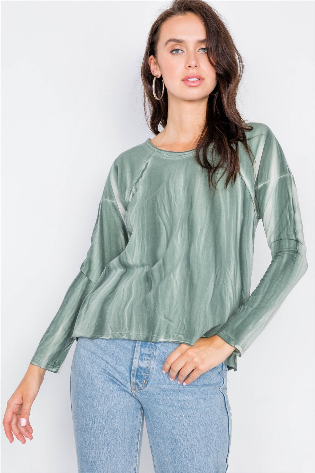 Tie-dye Print High-low Long Sleeve Top