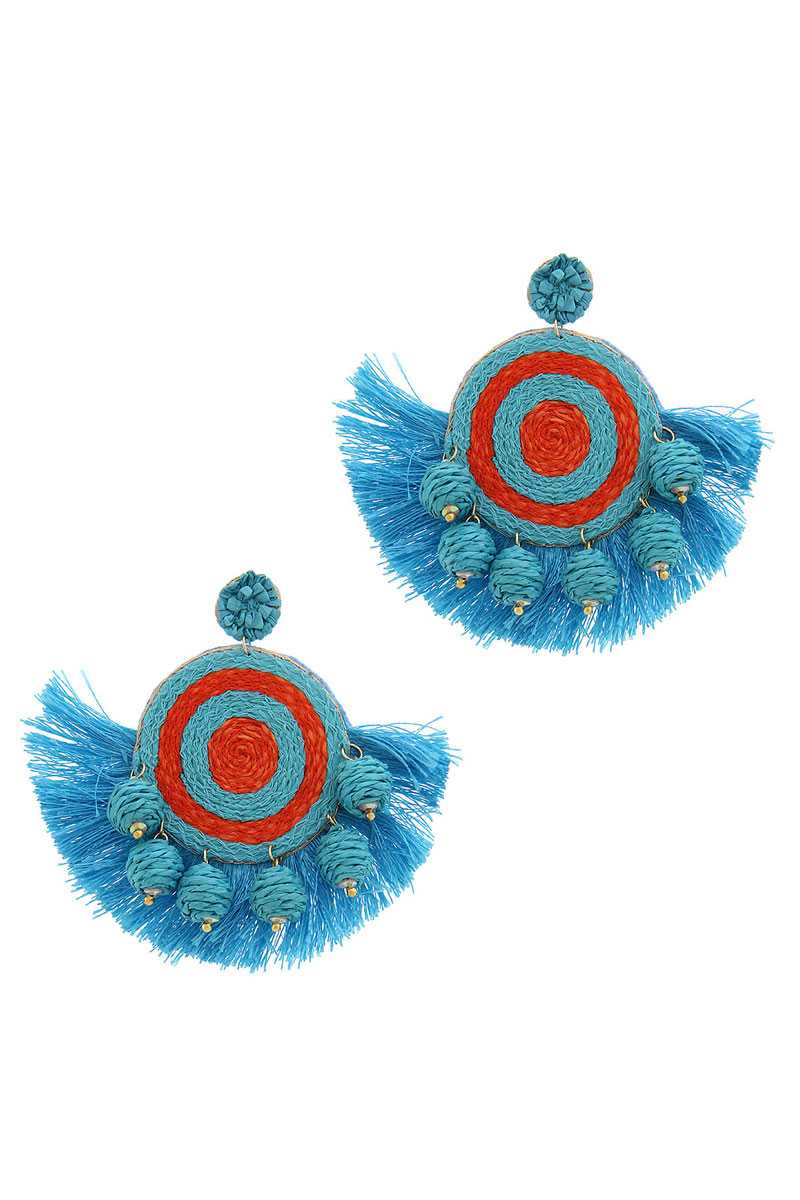 Fashion Fan Tassel Drop Earring