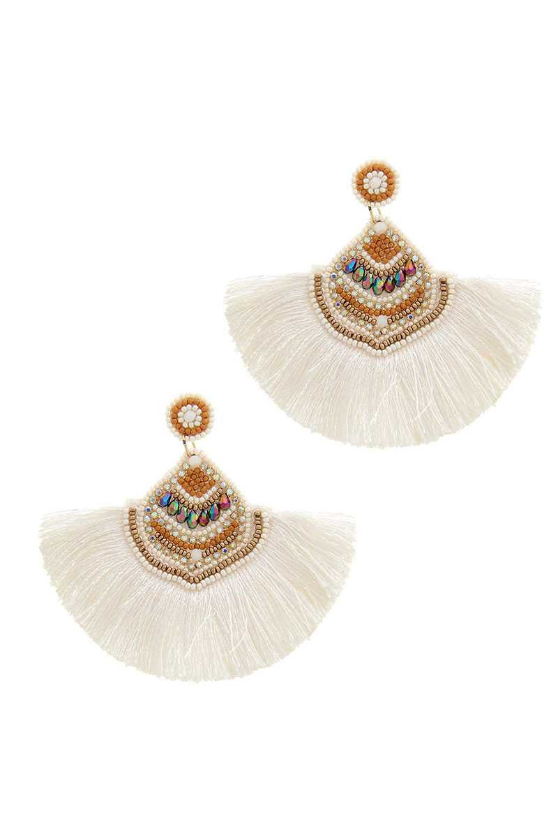 Stylish Multi Bead Fan Tassel Earring