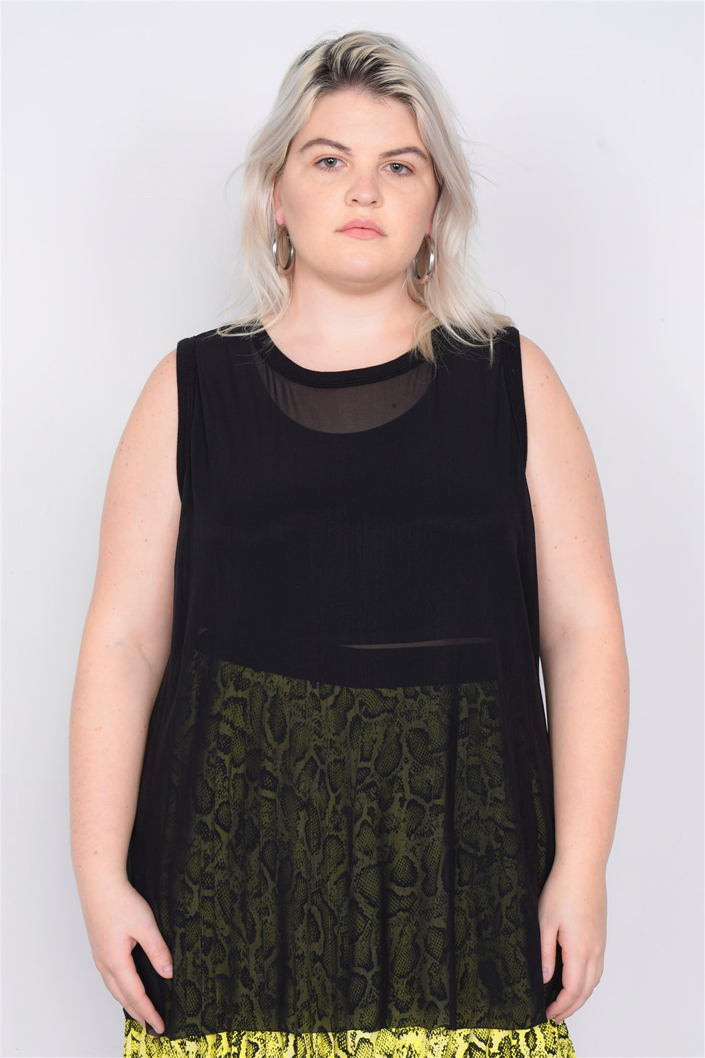 Plus Size Black Mesh Sleeveless Long Tank Top