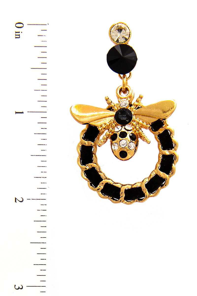 Stylish Trendy Bee And Circle Earring